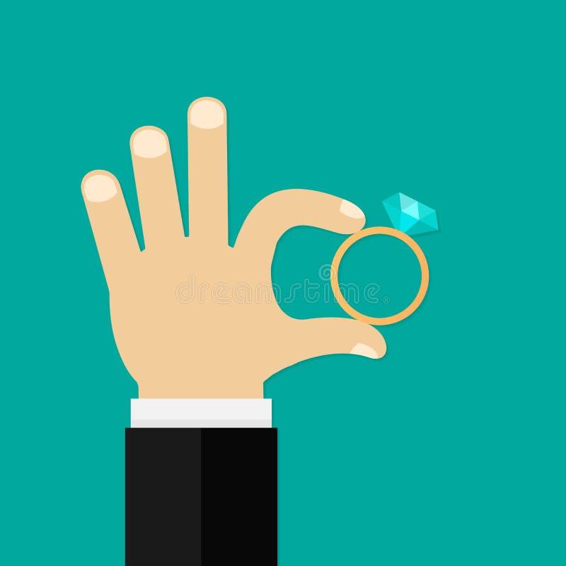 Αρσενικά χέρια που κρατούν το δαχτυλίδι αρραβώνων Διανυσματική επίπεδη απεικόνιση ύφους διανυσματική απεικόνιση