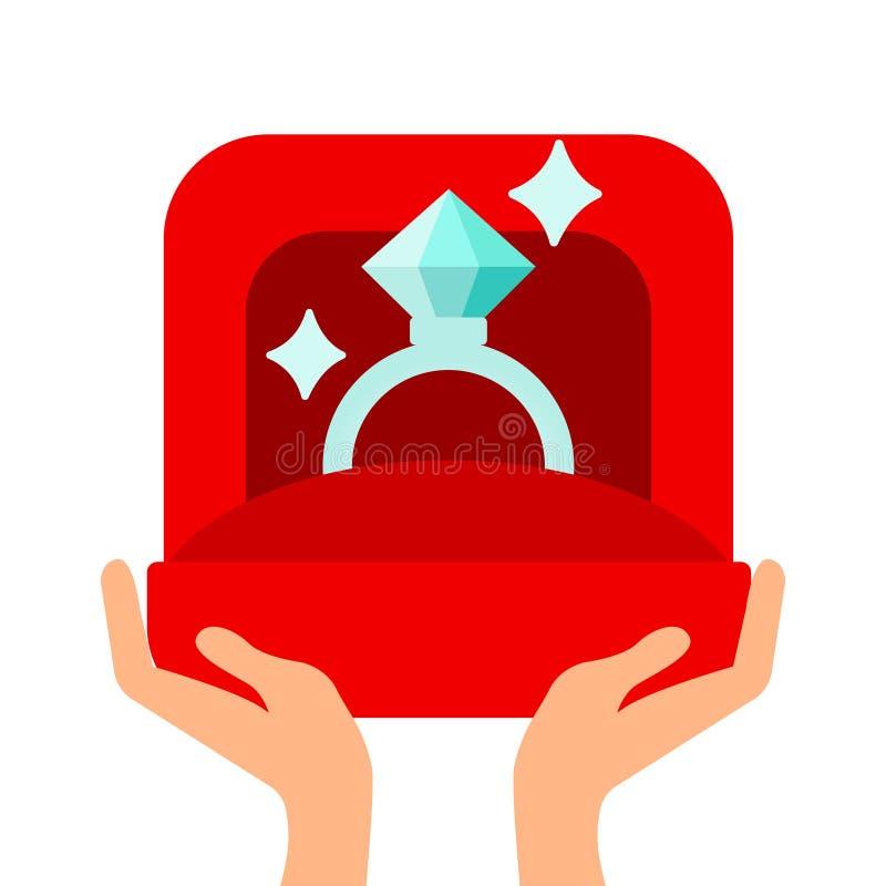 Αρσενικά χέρια που κρατούν το δαχτυλίδι αρραβώνων στο επίπεδο ύφος Για τη ευχετήρια κάρτα ημέρας βαλεντίνων επίσης corel σύρετε τ διανυσματική απεικόνιση