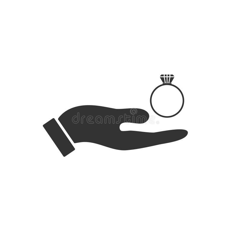 Αρσενικά χέρια που κρατούν το εικονίδιο δαχτυλιδιών αρραβώνων επίπεδο διανυσματική απεικόνιση