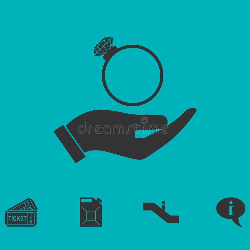 Αρσενικά χέρια που κρατούν το εικονίδιο δαχτυλιδιών αρραβώνων επίπεδο απεικόνιση αποθεμάτων