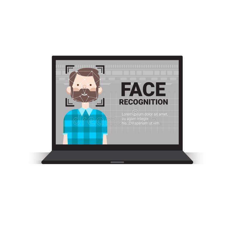 Αρσενική έννοια αναγνώρισης Biometrical συστημάτων ελέγχου προσπέλασης τεχνολογίας προσδιορισμού προσώπου χρηστών ανίχνευσης φορη ελεύθερη απεικόνιση δικαιώματος