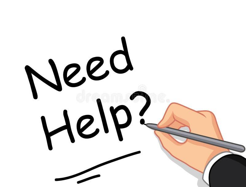 Αρσενική βοήθεια ανάγκης γραψίματος χεριών; για σας σχέδιο ελεύθερη απεικόνιση δικαιώματος