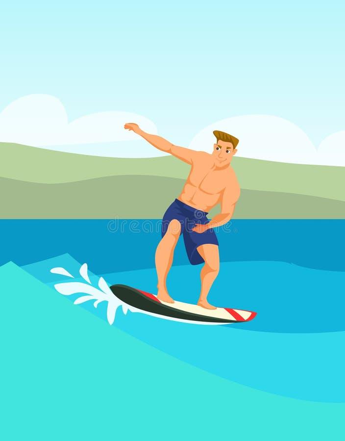 Αρσενική διανυσματική έγχρωμη εικονογράφηση κινούμενων σχεδίων surfer ελεύθερη απεικόνιση δικαιώματος