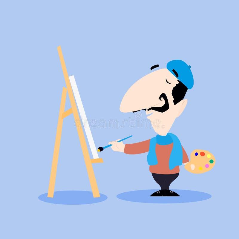 Αρσενική ζωγραφική χαρακτήρα κινουμένων σχεδίων καλλιτεχνών σε έναν καμβά με μια βούρτσα απεικόνιση αποθεμάτων