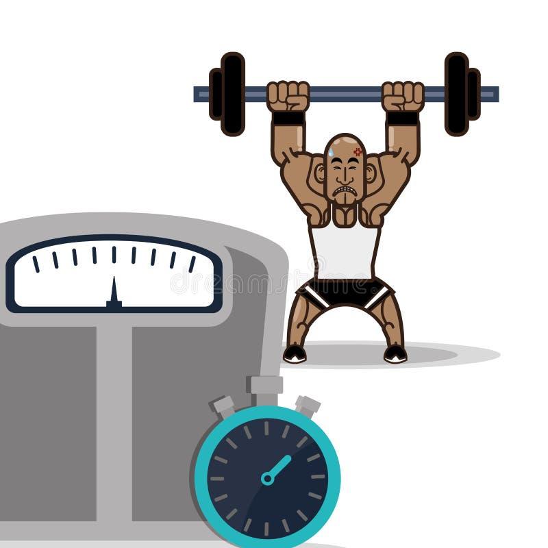 Αρσενική κλίμακα και χρονόμετρο με διακόπτη βάρους ικανότητας Bodybuilder ελεύθερη απεικόνιση δικαιώματος