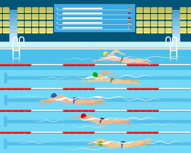Αρσενική κολύμβηση που συναγωνίζεται στη λίμνη ελεύθερη απεικόνιση δικαιώματος