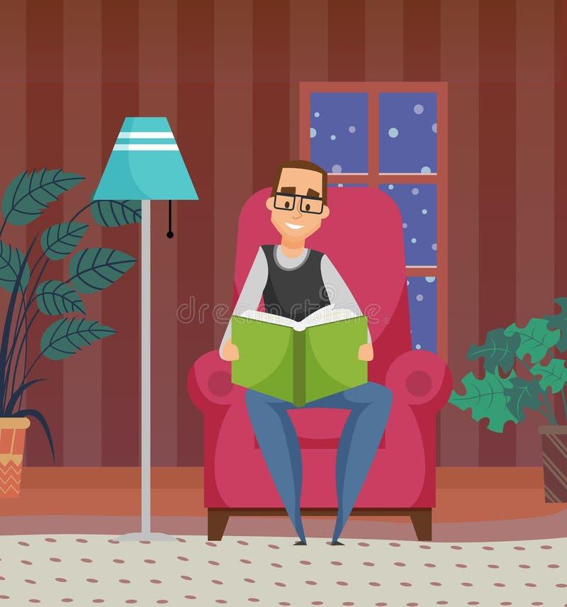 Αρσενική λογοτεχνία ανάγνωσης στο σπίτι, διάνυσμα χόμπι διανυσματική απεικόνιση
