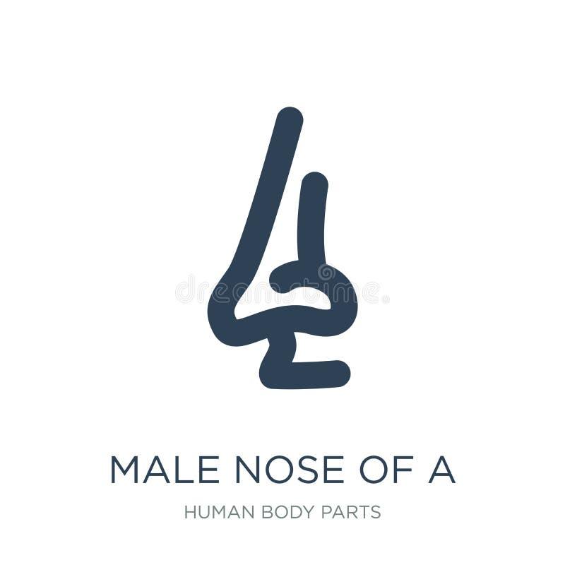 αρσενική μύτη ενός εικονιδίου γραμμών στο καθιερώνον τη μόδα ύφος σχεδίου αρσενική μύτη ενός εικονιδίου γραμμών που απομονώνεται  διανυσματική απεικόνιση
