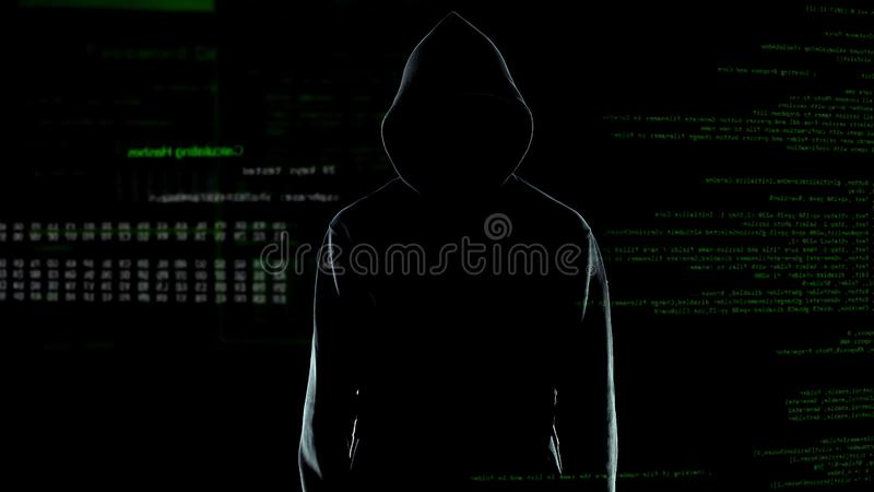 Αρσενική σκιαγραφία χάκερ στο hoodie που στέκεται μπροστά από το ζωντανεψοντα κώδικα υπολογιστών στοκ εικόνες
