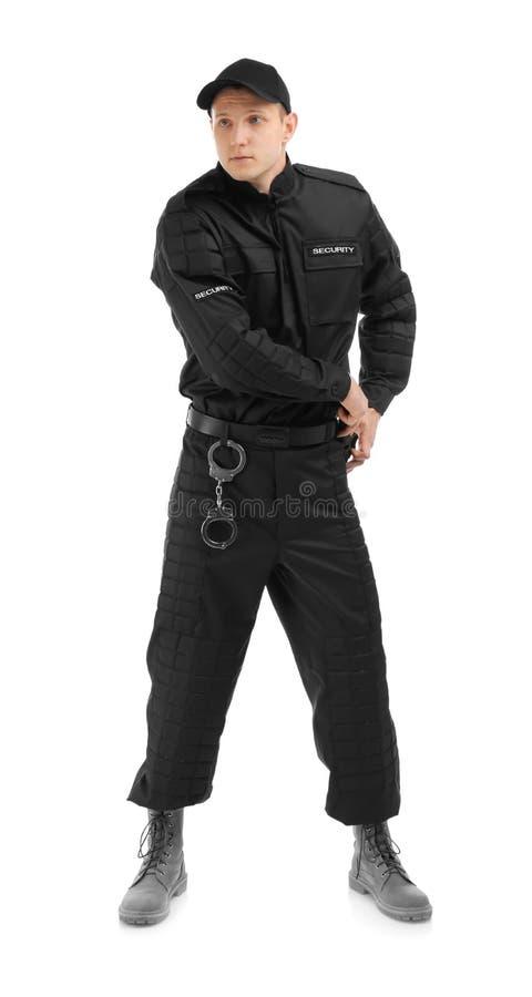 Αρσενική φρουρά ασφάλειας με το μπαστούνι αστυνομίας στοκ εικόνες