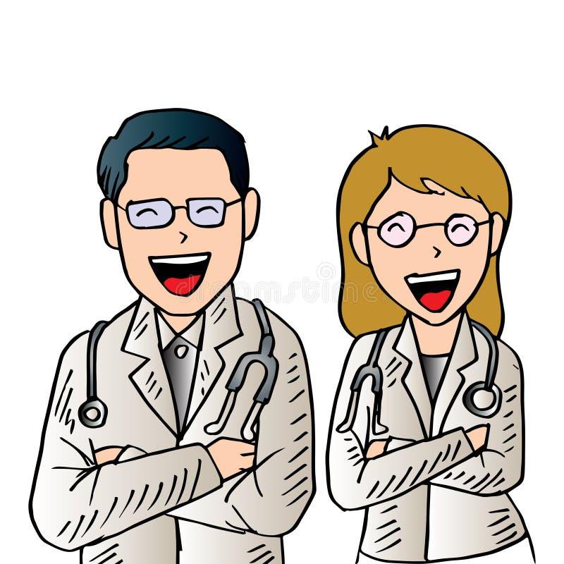 Αρσενικοί και θηλυκοί γιατροί ελεύθερη απεικόνιση δικαιώματος