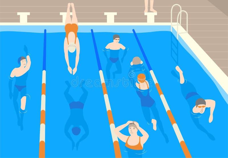 Αρσενικοί και θηλυκοί επίπεδοι χαρακτήρες κινουμένων σχεδίων που φορούν τα καλύμματα, τα προστατευτικά δίοπτρα και το swimwear άλ απεικόνιση αποθεμάτων