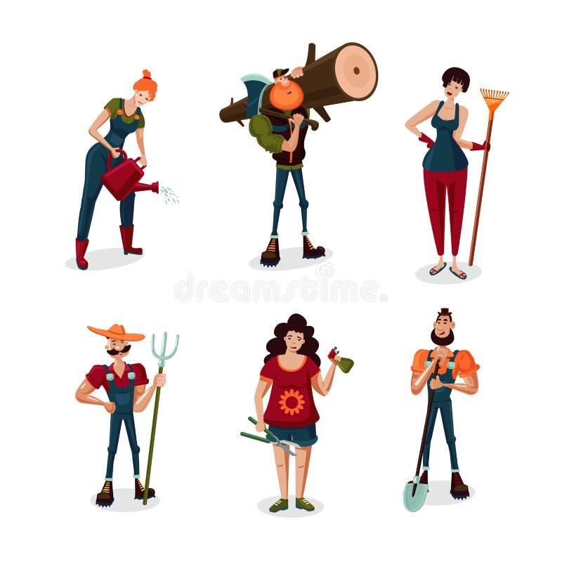 Αρσενικοί και θηλυκοί χαρακτήρες κινουμένων σχεδίων εργαζομένων κήπων καθορισμένοι Συλλογή εικονιδίων ανθρώπων της Farmer Επίπεδο απεικόνιση αποθεμάτων
