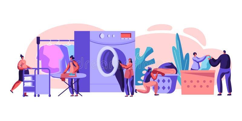 Αρσενικοί και θηλυκοί χαρακτήρες που επισκέπτονται το πλυντήριο που φορτώνει τα βρώμικα ενδύματα στο πλυντήριο, σιδέρωμα, κυλώντα διανυσματική απεικόνιση
