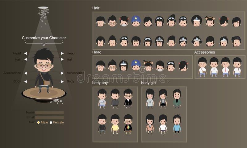 Αρσενικοί και θηλυκοί χαρακτήρες με τα ενδύματα, hairstyles και το εξάρτημα σχέδιο χαρακτήρα - διανυσματική απεικόνιση στοκ εικόνα