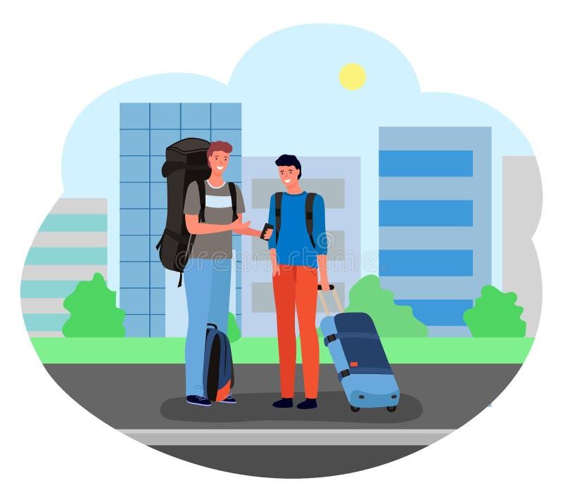 Αρσενικοί τουρίστες που στέκονται με τις βαλίτσες και τις αποσκευές απεικόνιση αποθεμάτων