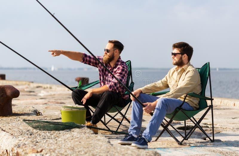 Αρσενικοί φίλοι με την αλιεία των ράβδων στην αποβάθρα στοκ εικόνα