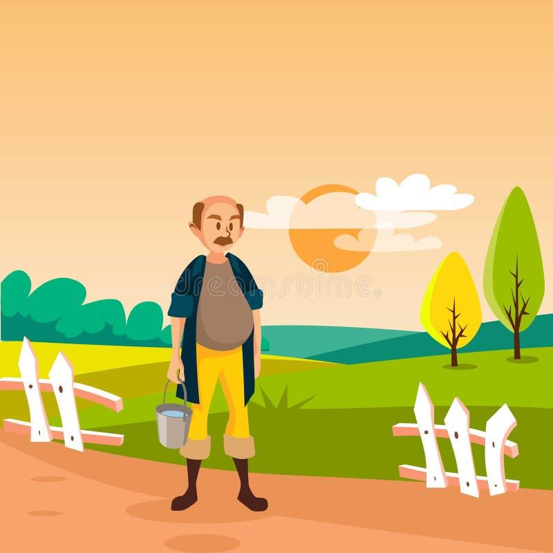 Αρσενικός αγρότης που στέκεται με τον κάδο, καλλιεργημένος τομέας γεωργίας, αγροτική διανυσματική απεικόνιση τοπίων απεικόνιση αποθεμάτων