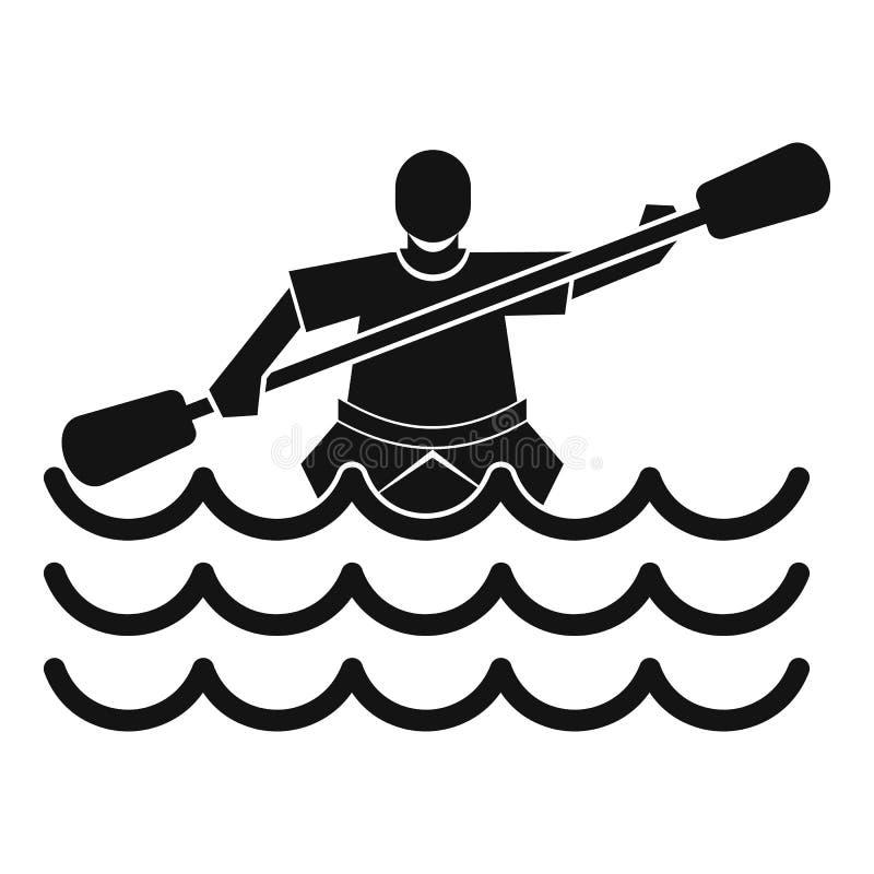 Αρσενικός αθλητής σε ένα εικονίδιο κανό, απλό ύφος απεικόνιση αποθεμάτων