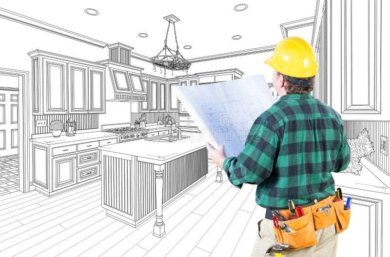 Αρσενικός ανάδοχος με το σκληρό καπέλο και σχέδια σε μια κουζίνα συνήθειας απεικόνιση αποθεμάτων