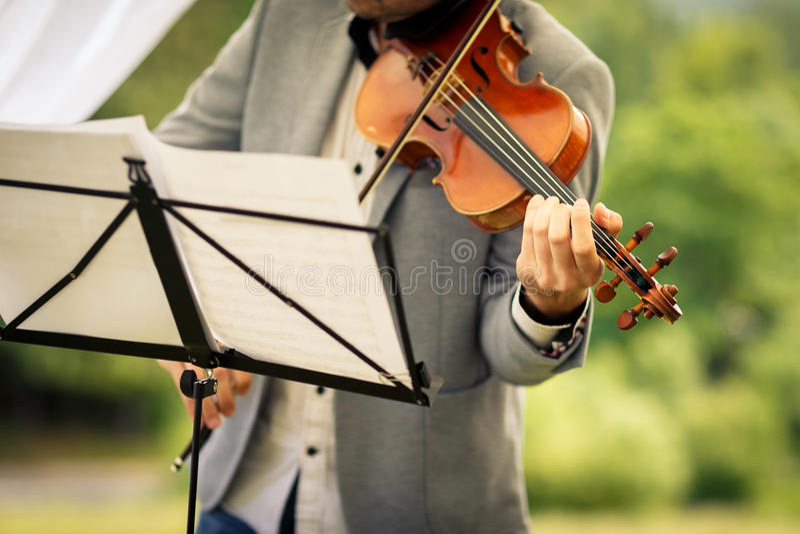 Αρσενικός βιολιστής που παίζει το όργανό του στοκ εικόνες