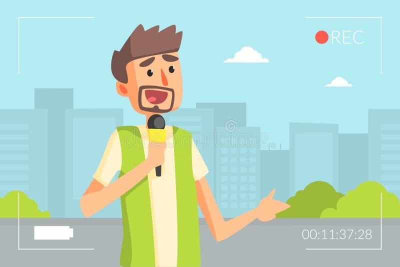 Αρσενικός δημοσιογράφος που κάνει την έκθεση με το μικρόφωνο, δημοσιογράφος που παρουσιάζει τη ζωντανή διανυσματική απεικόνιση ει διανυσματική απεικόνιση