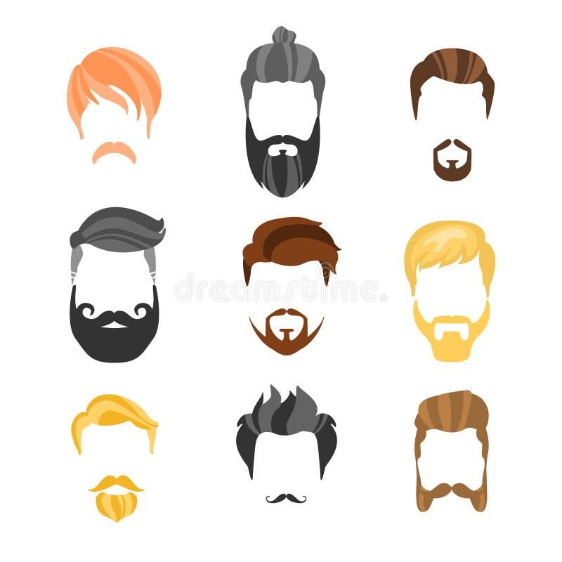 Αρσενικός κατασκευαστής Hairstyle για τη συλλογή Hipster προσώπου διανυσματική απεικόνιση