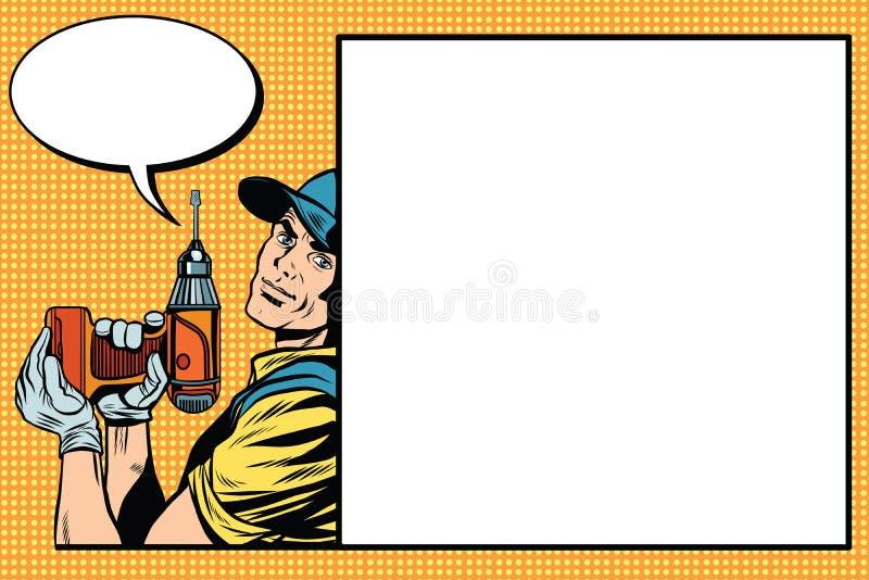 Αρσενικός κύριος επισκευαστής με ένα τρυπάνι διανυσματική απεικόνιση