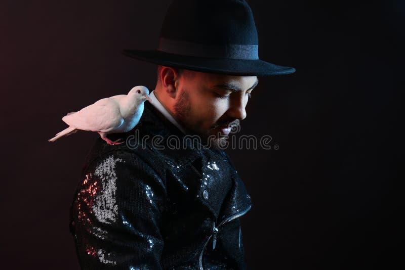 Αρσενικός μάγος με το άσπρο περιστέρι στο σκοτεινό υπόβαθρο στοκ φωτογραφίες με δικαίωμα ελεύθερης χρήσης