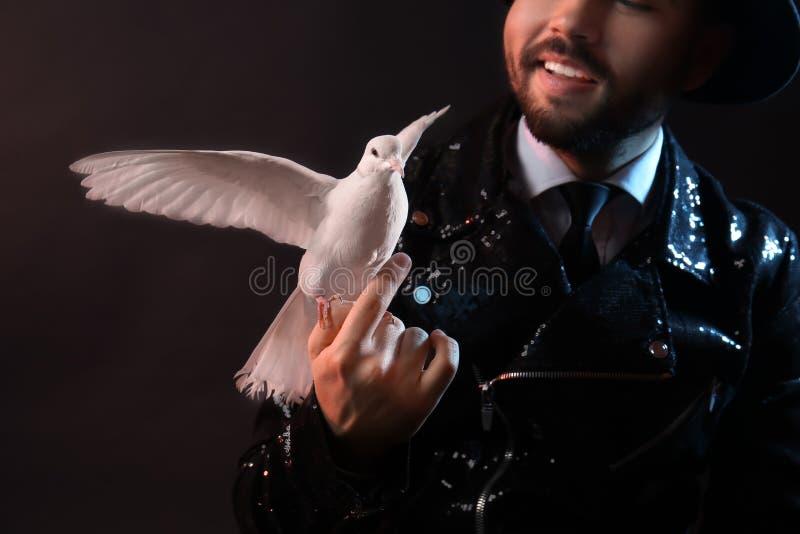 Αρσενικός μάγος με το άσπρο περιστέρι στο σκοτεινό υπόβαθρο στοκ φωτογραφία με δικαίωμα ελεύθερης χρήσης