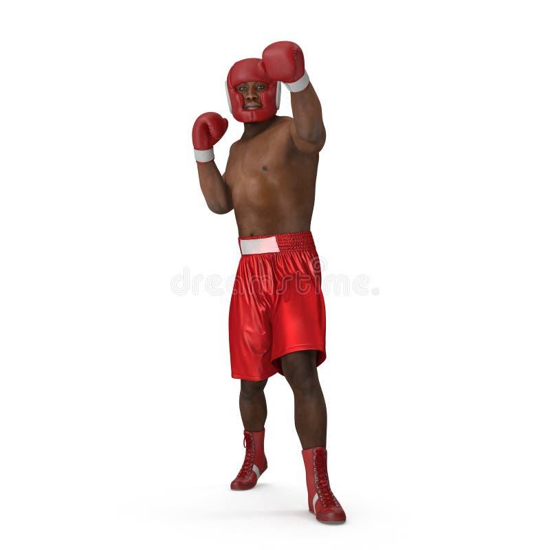 Αρσενικός μπόξερ αφροαμερικάνων στο λευκό τρισδιάστατη απεικόνιση ελεύθερη απεικόνιση δικαιώματος