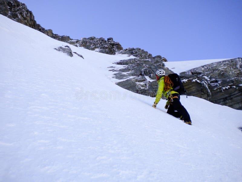Αρσενικός οδηγός βουνών που αναρριχείται σε ένα απότομο χιόνι couloir στο δρόμο του σε μια υψηλή κορυφή στις ελβετικές Άλπεις στοκ εικόνες
