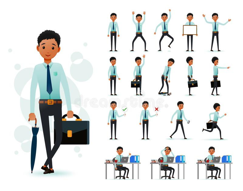 Αρσενικός 2$ος χαρακτήρας υπαλλήλων μαύρων Αφρικανών έτοιμος να χρησιμοποιήσει το σύνολο που φορά το μακρύ μανίκι διανυσματική απεικόνιση