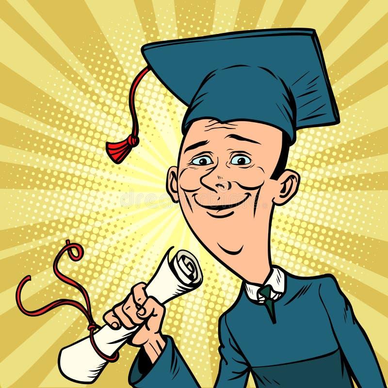 Αρσενικός πτυχιούχος από το πανεπιστήμιο ή το κολλέγιο διανυσματική απεικόνιση