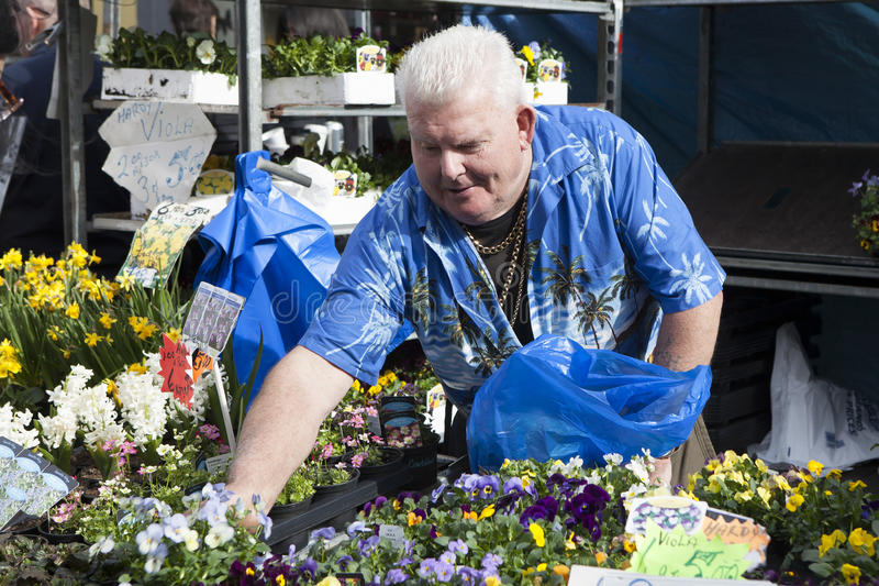Αρσενικός πωλητής λουλουδιών στην οδική αγορά της Κολούμπια της Κυριακής, Λονδίνο, Αγγλία, UK στοκ εικόνες