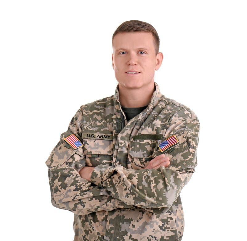 Αρσενικός στρατιώτης στο άσπρο υπόβαθρο στοκ εικόνα με δικαίωμα ελεύθερης χρήσης