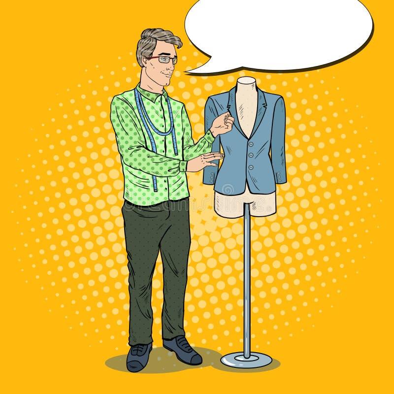 Αρσενικός σχεδιαστής μόδας με το σακάκι σε ένα μανεκέν clothing dummies female industry inside store textile women Λαϊκή αναδρομι ελεύθερη απεικόνιση δικαιώματος