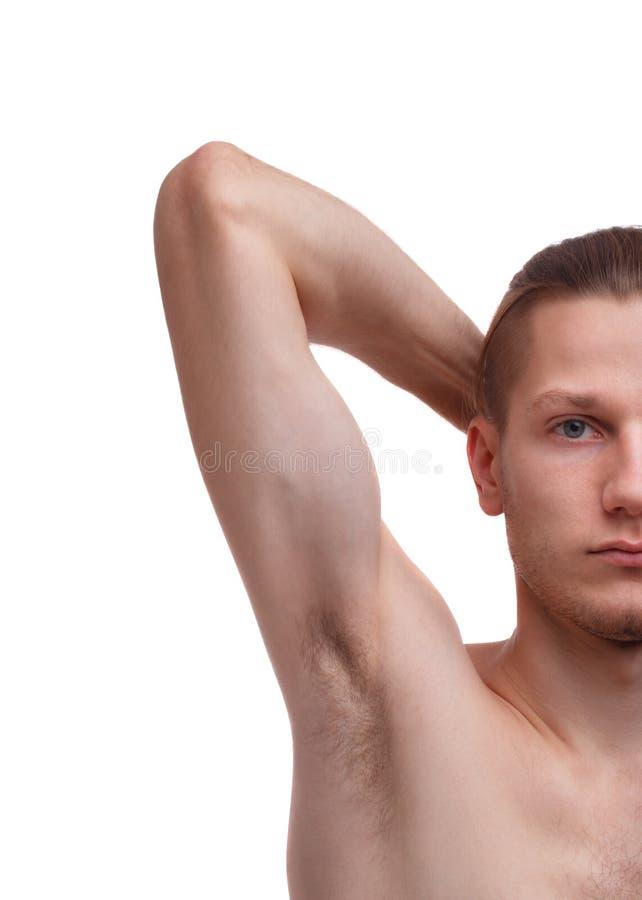 Αρσενικός τριχωτός νεαρός άνδρας μασχαλών που απομονώνεται στο άσπρο υπόβαθρο διανυσματική απεικόνιση