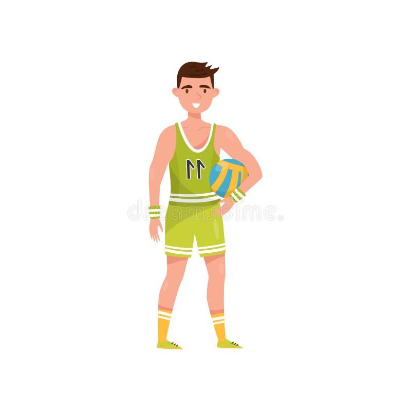 Αρσενικός φορέας πετοσφαίρισης, επαγγελματικός χαρακτήρας αθλητικών τύπων σε ομοιόμορφο με τη σφαίρα, ενεργό διάνυσμα έννοιας αθλ διανυσματική απεικόνιση