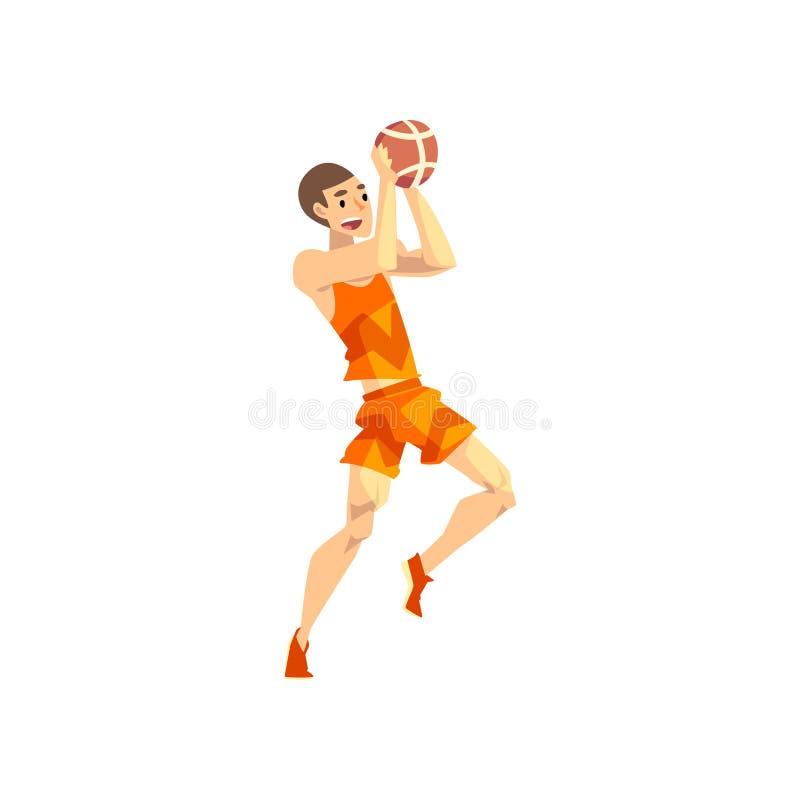 Αρσενικός φορέας πετοσφαίρισης, παιχνίδι χαρακτήρα αθλητικών τύπων με τη σφαίρα, ενεργός διανυσματική απεικόνιση αθλητικού τρόπου ελεύθερη απεικόνιση δικαιώματος