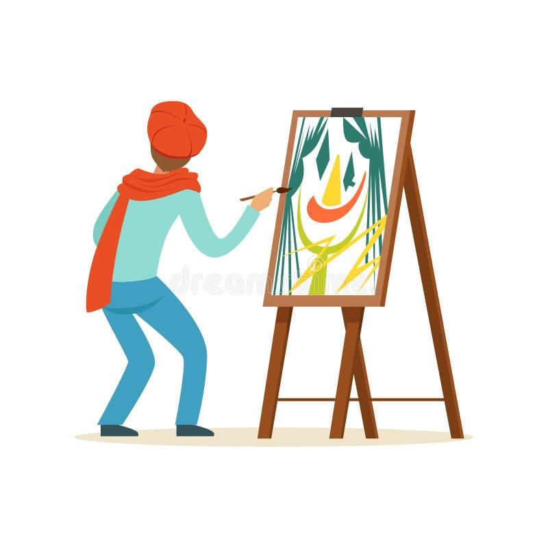Αρσενικός χαρακτήρας καλλιτεχνών ζωγράφων που φορά την κόκκινη beret ζωγραφική με τη ζωηρόχρωμη παλέτα που στέκεται κοντά easel σ απεικόνιση αποθεμάτων