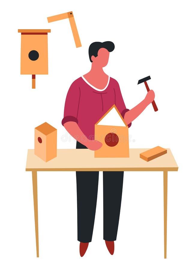 Αρσενικός χτίζοντας απομονωμένος χαρακτήρας ξυλουργικής ή κατασκευής χόμπι birdhouse απεικόνιση αποθεμάτων