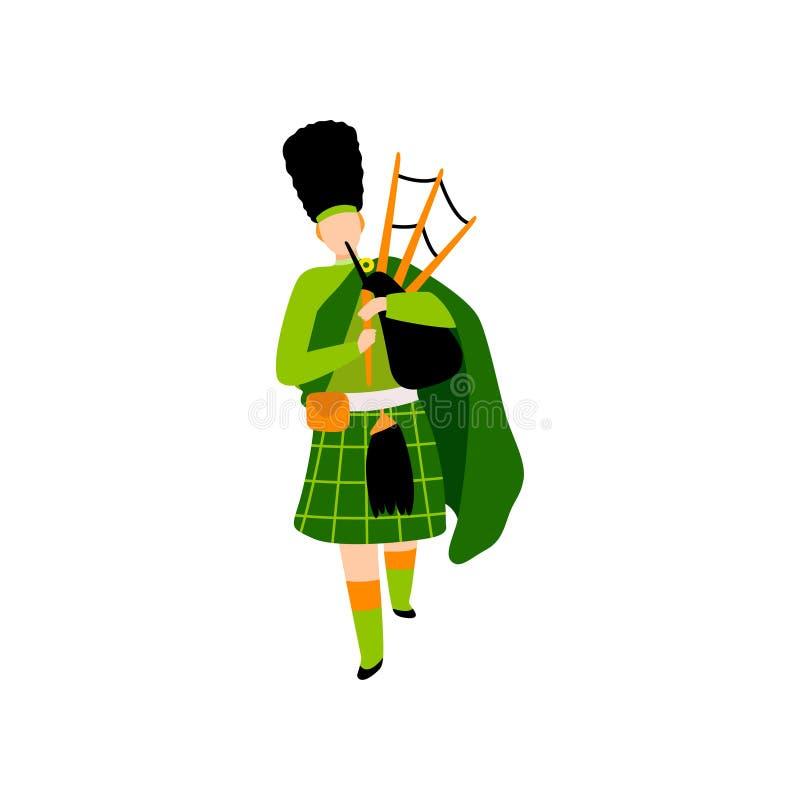 Αρσενικός Bagpiper στο πράσινο ιρλανδικό κοστούμι που παίζει Bagpipe, άτομο που γιορτάζει Άγιο Πάτρικ Day Vector Illustration ελεύθερη απεικόνιση δικαιώματος