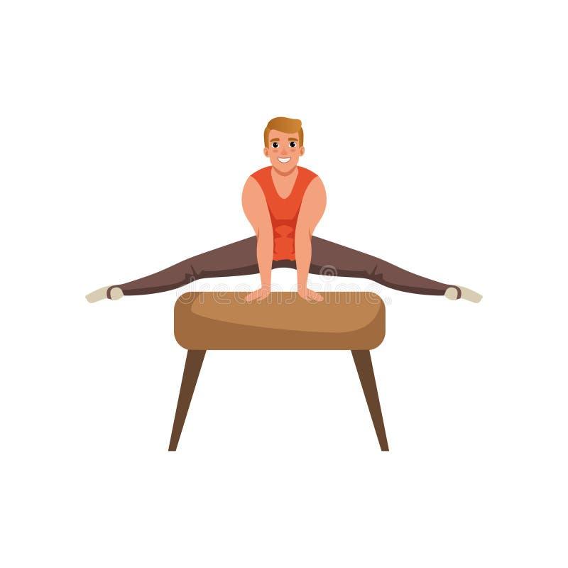 Αρσενικός gymnast που κάνει την άσκηση στο άλογο λαβών ξίφους Ισχυρός τύπος κινούμενων σχεδίων Γυμναστική καλλιτεχνική Επαγγελματ ελεύθερη απεικόνιση δικαιώματος