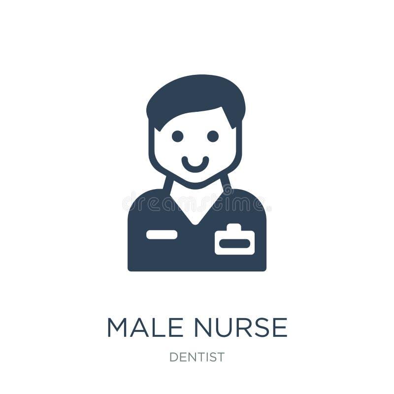 αρσενικό εικονίδιο νοσοκόμων στο καθιερώνον τη μόδα ύφος σχεδίου αρσενικό εικονίδιο νοσοκόμων που απομονώνεται στο άσπρο υπόβαθρο διανυσματική απεικόνιση