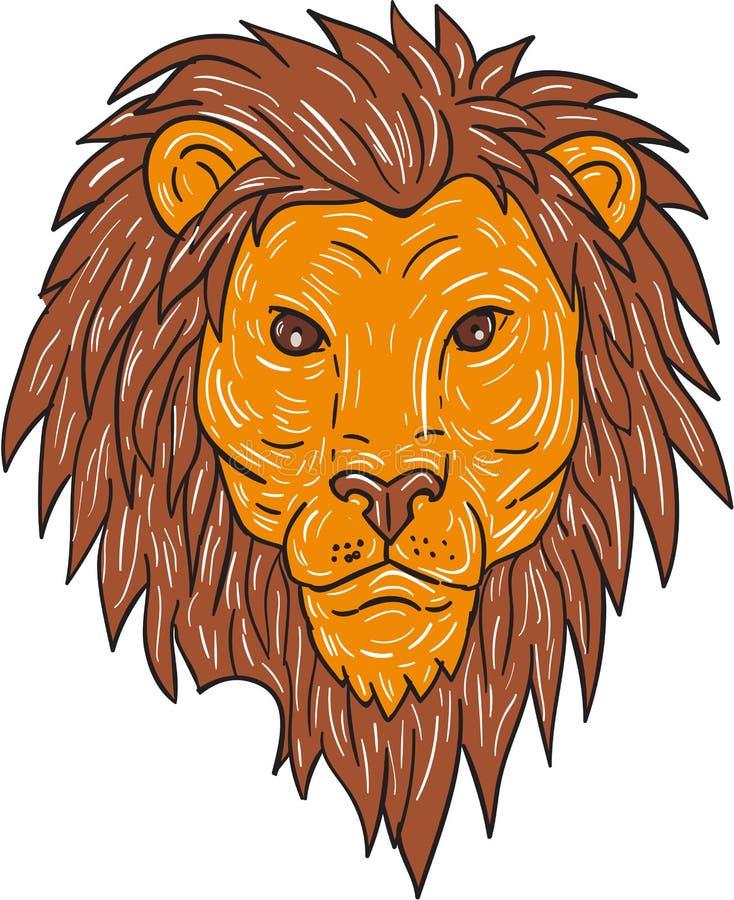 Αρσενικό επικεφαλής σχέδιο γατών λιονταριών μεγάλο ελεύθερη απεικόνιση δικαιώματος