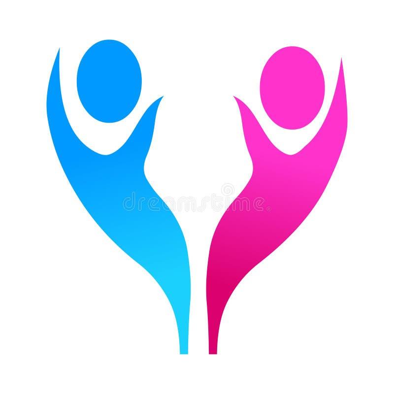 Αρσενικό και θηλυκό διάνυσμα λογότυπων εικονιδίων ελεύθερη απεικόνιση δικαιώματος
