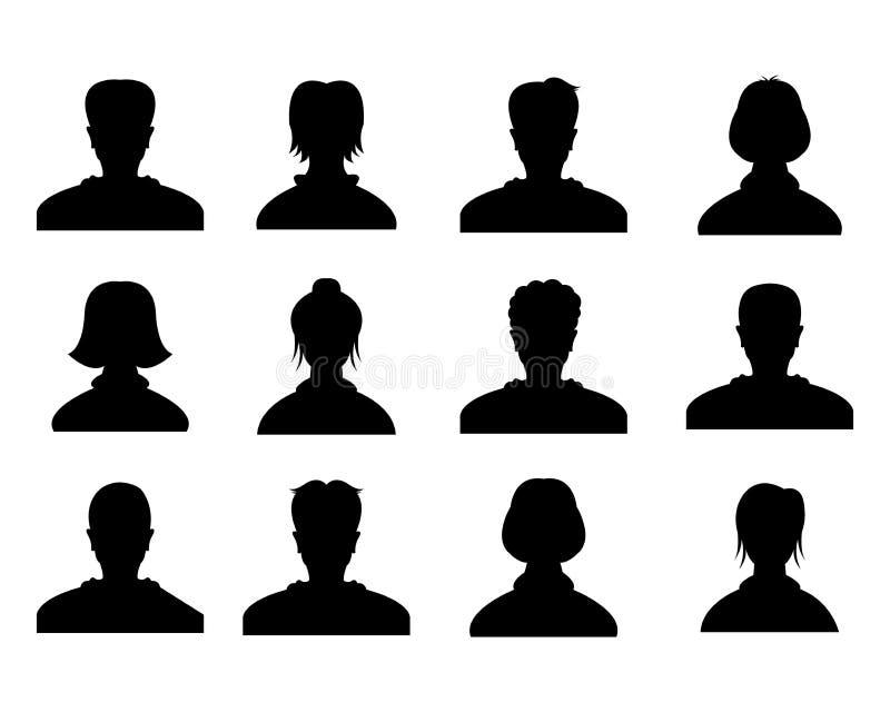 Αρσενικό και θηλυκό επικεφαλής είδωλο σκιαγραφιών, εικονίδια σχεδιαγράμματος, πορτρέτα ανθρώπων Μαύρο πρόσωπο χρηστών φωτογραφιών απεικόνιση αποθεμάτων