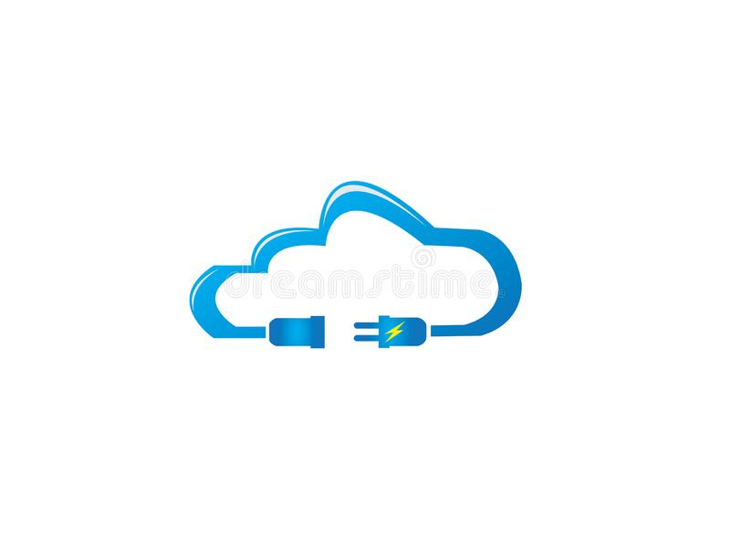 Αρσενικό και θηλυκό ηλεκτρικής δύναμης στο σύννεφο για το σχέδιο λογότυπων απεικόνιση αποθεμάτων
