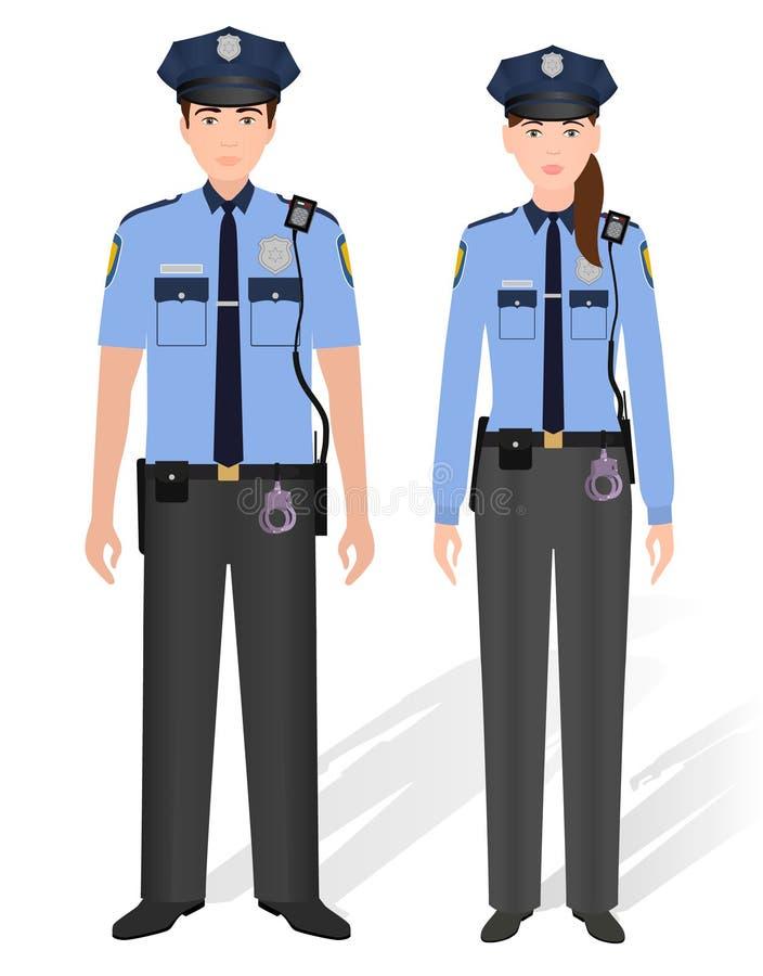 Αρσενικό και θηλυκό αστυνομικών που απομονώνονται στο άσπρο υπόβαθρο Αστυφύλακας ανδρών και γυναικών απεικόνιση αποθεμάτων